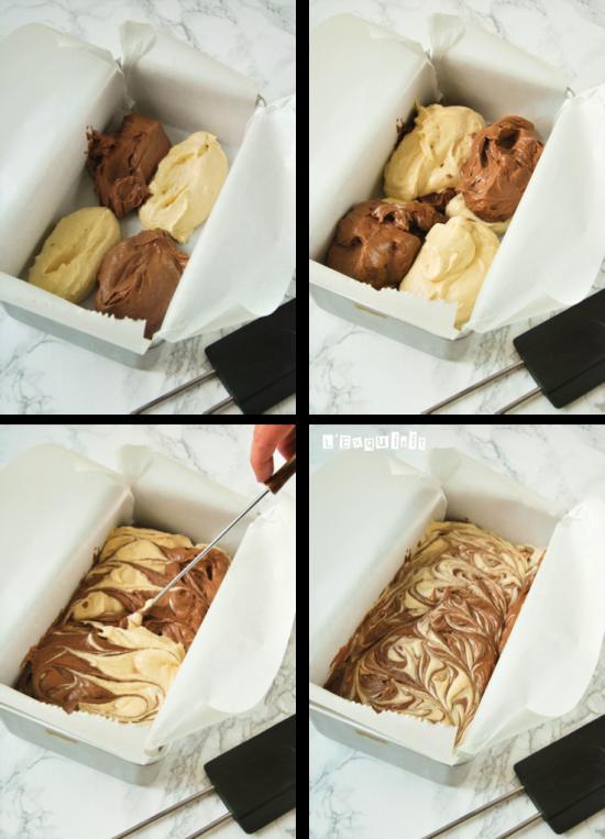 Bizcocho de vainilla y chocolate - preparación