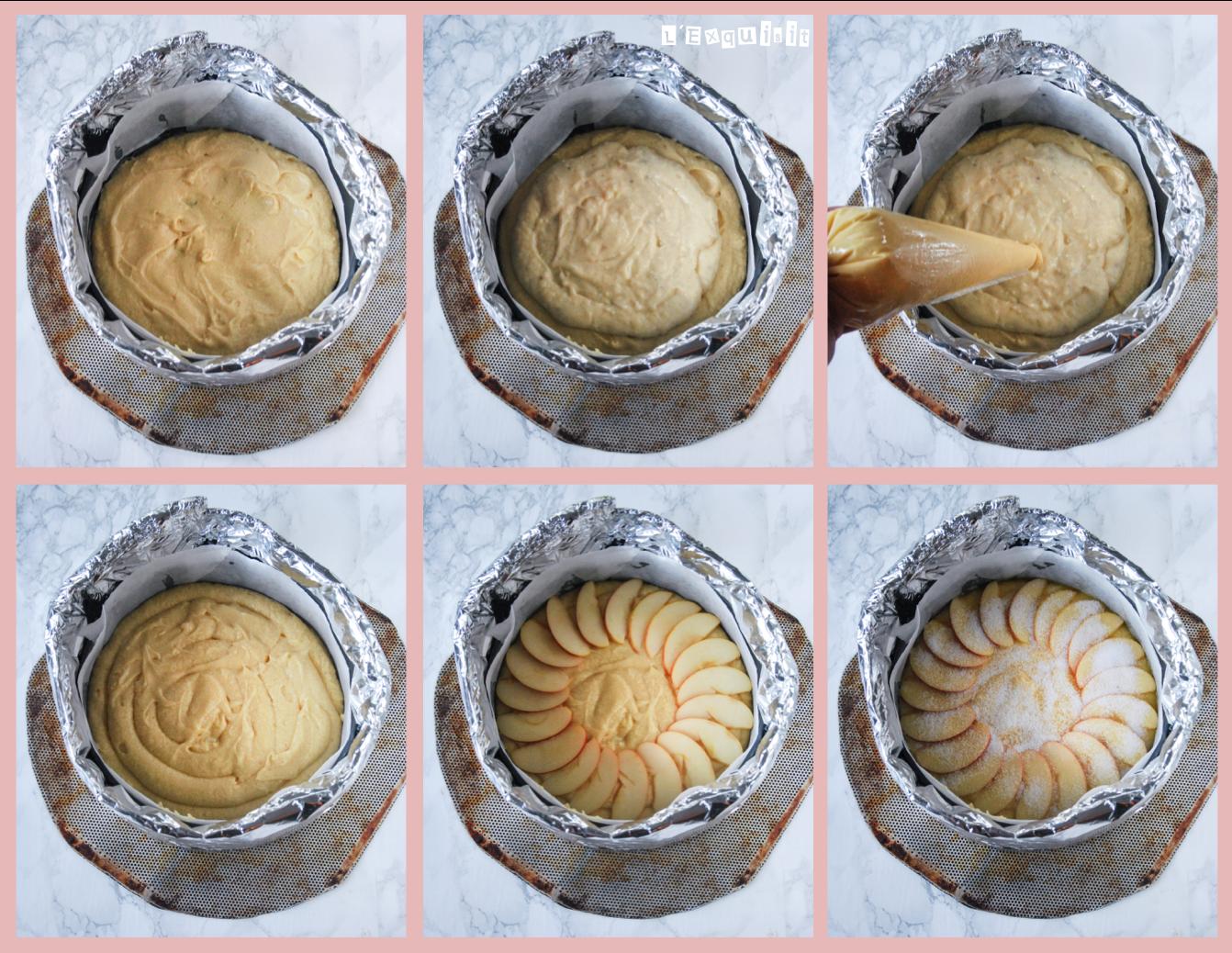 Bizcocho relleno de crema con manzana - preparación