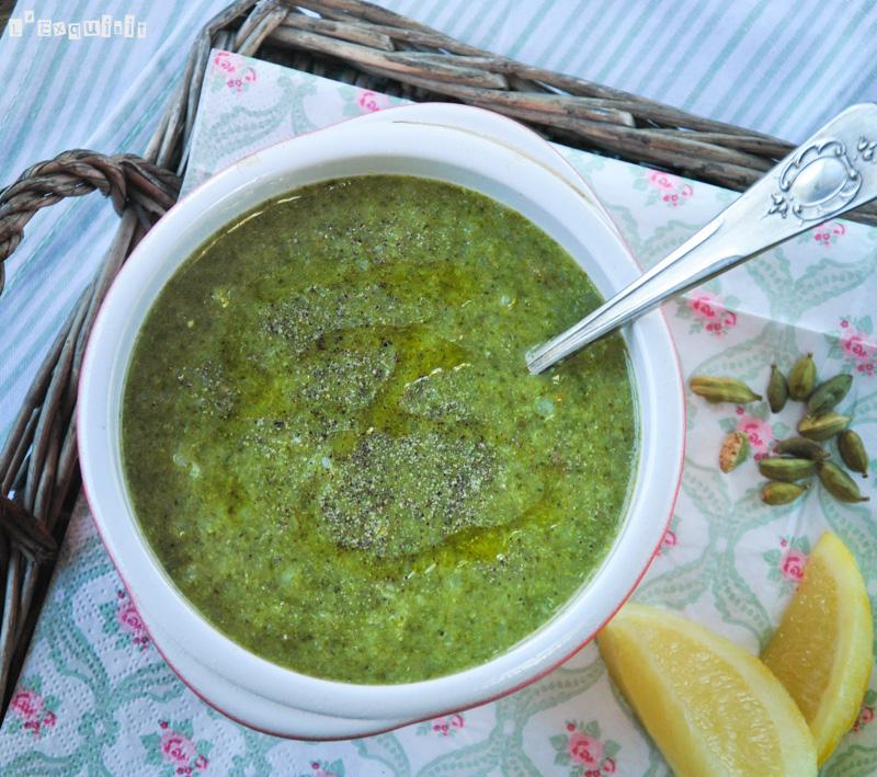Crema de brócoli y espinacas al limón