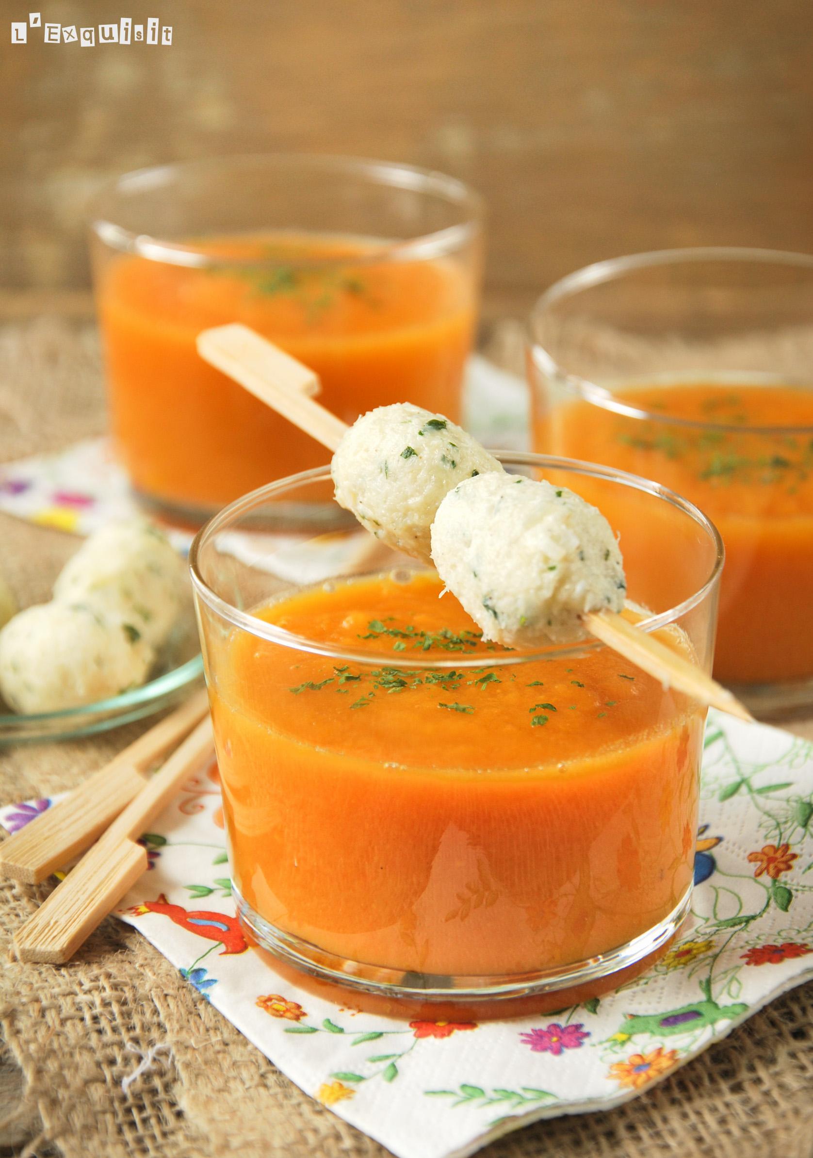 Crema de zanahoria y boniato con croquetas de brandada