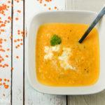 Crema de zanahorias, lentejas y puerro