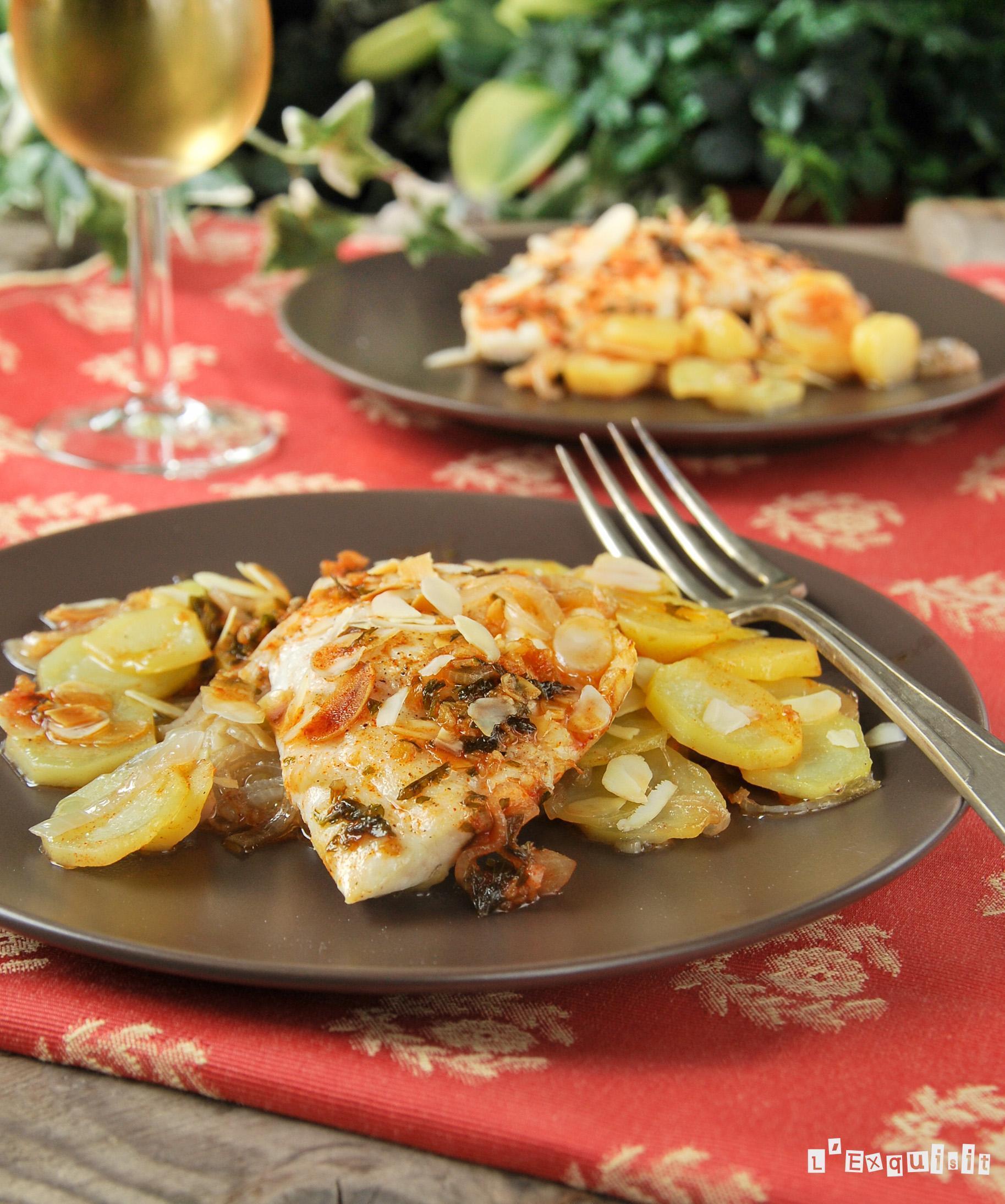 Dorada con almendras y patatas