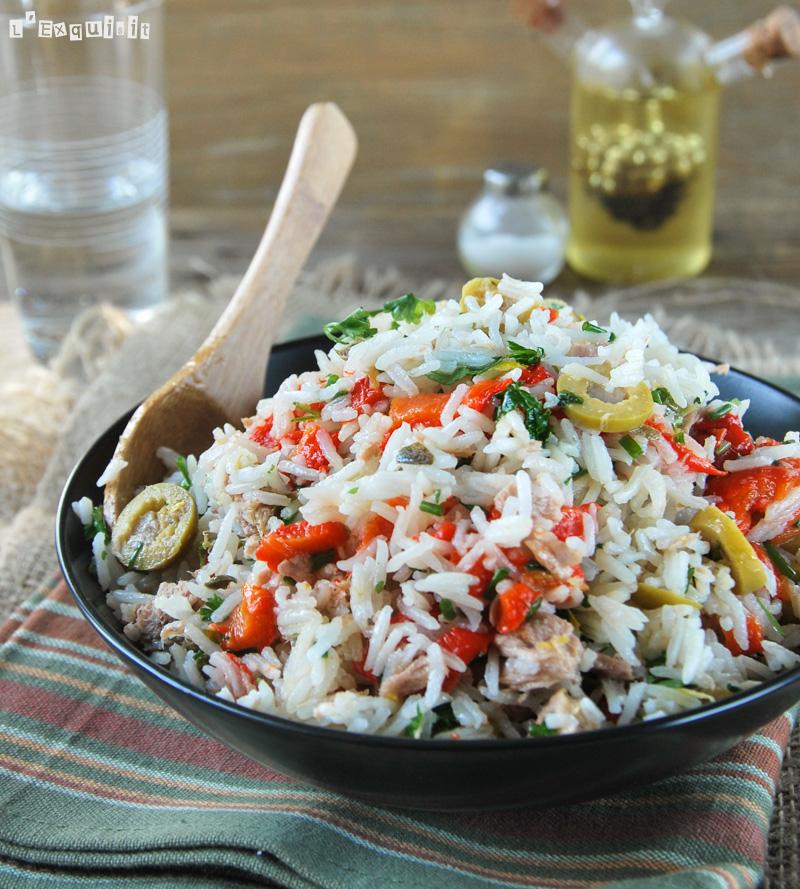 Ensalada de arroz con atún y pimientos asados