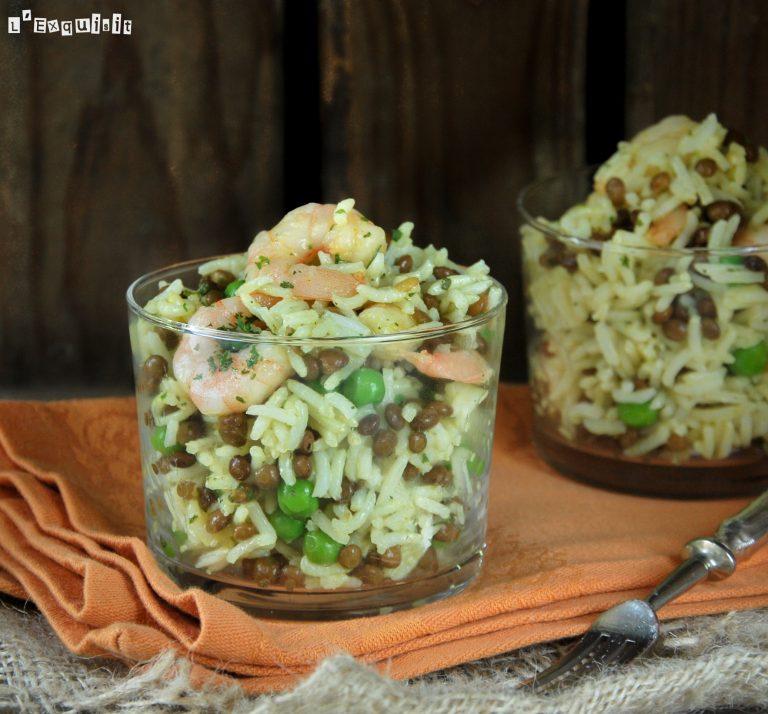 Ensalada de arroz con lentejas y gambitas