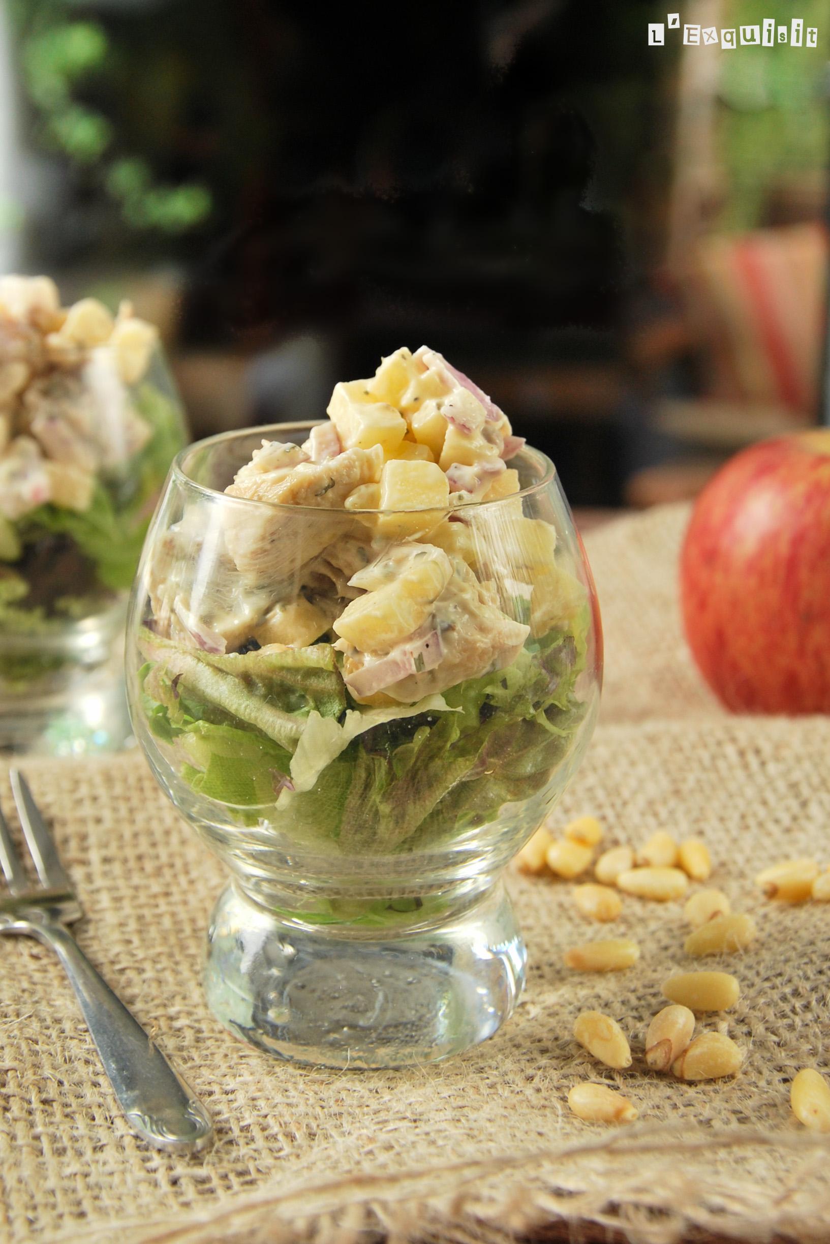 Ensalada templada de pollo y manzana al estragón