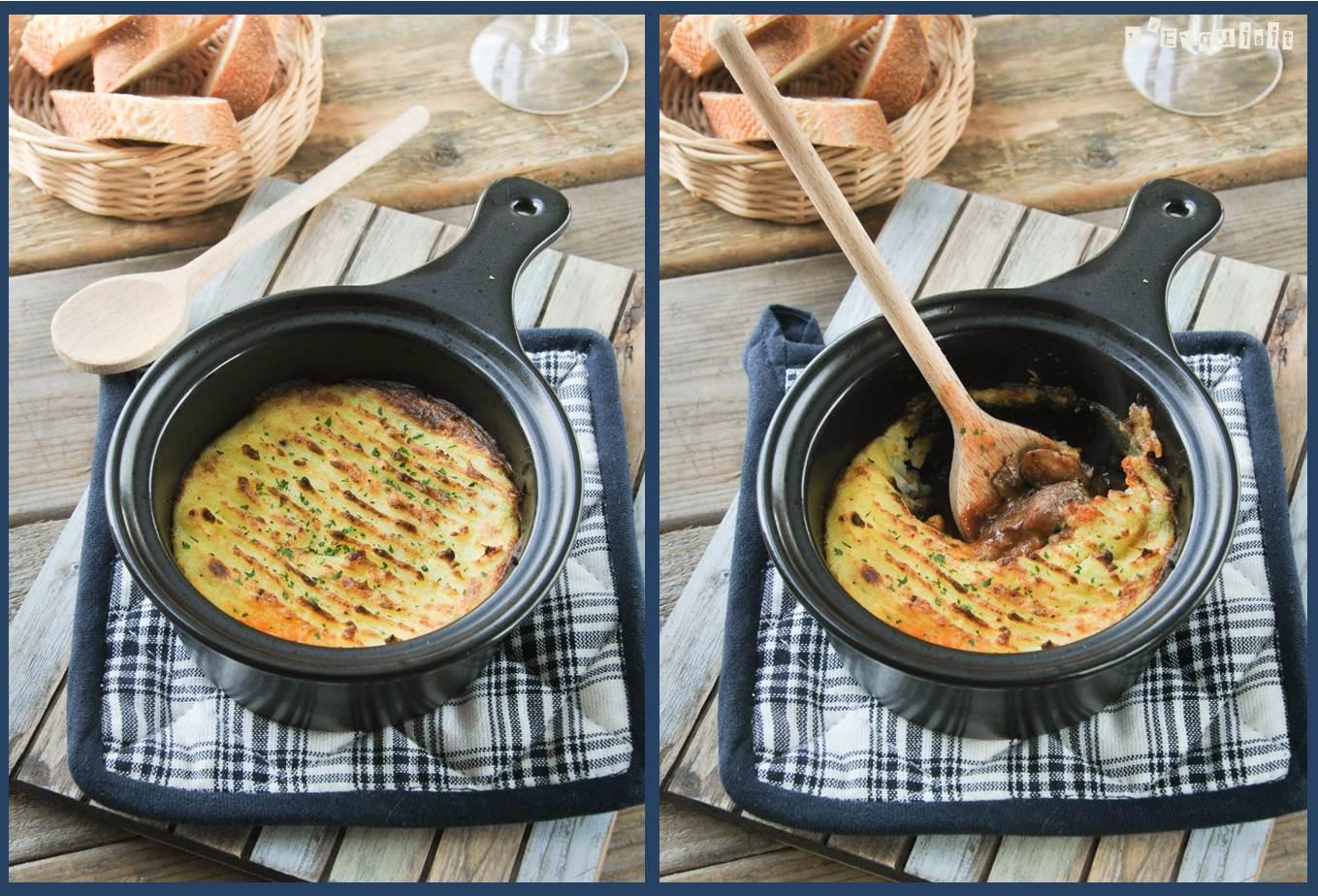 Estofado bourguignon con puré de patatas