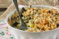 Gratín de patatas, espinacas y gorgonzola