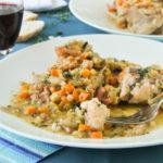 Pollo con lentejas y zanahorias