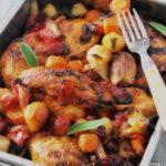 Pollo rústico con verduras