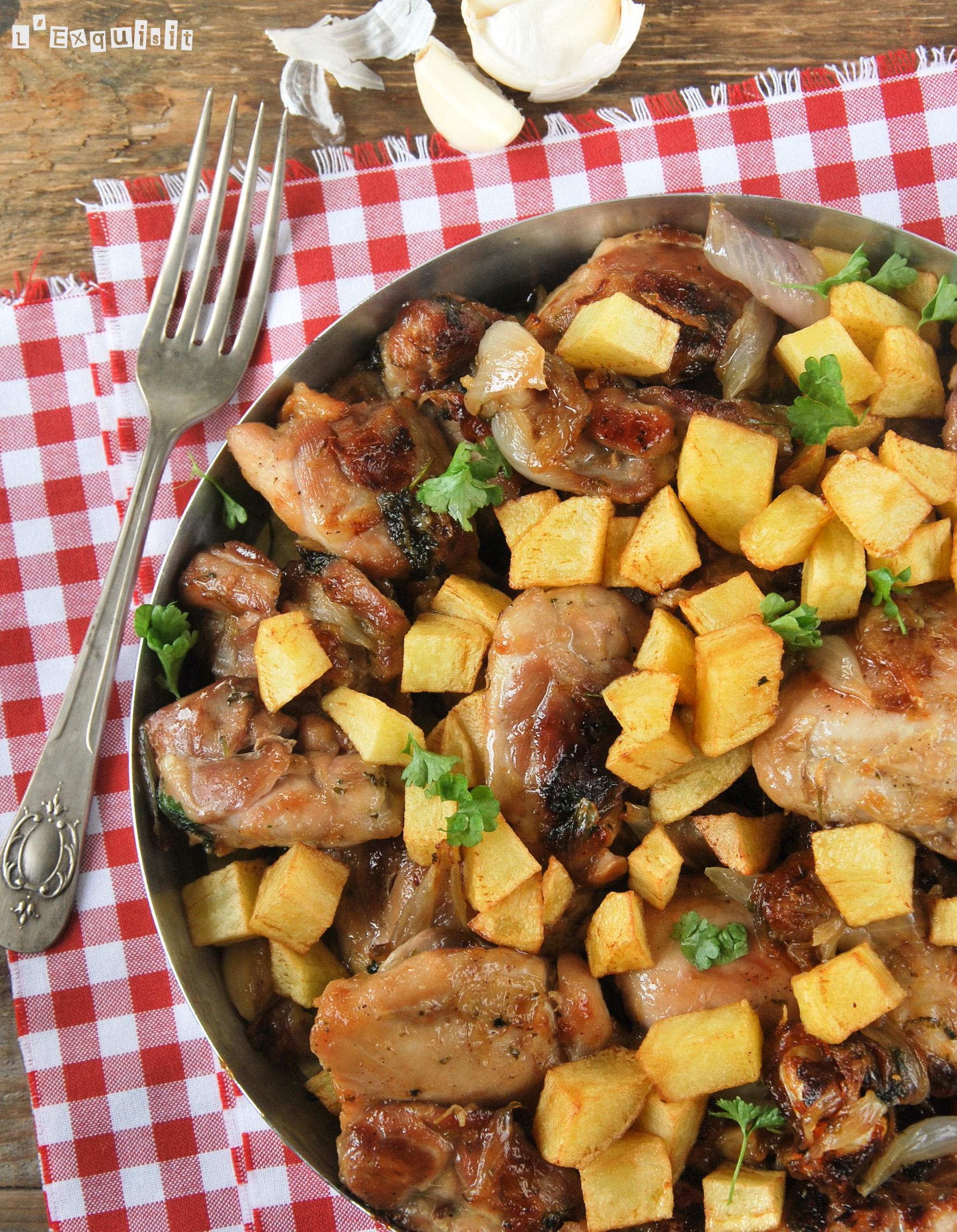 Pollo rustido con ajos y  perejil