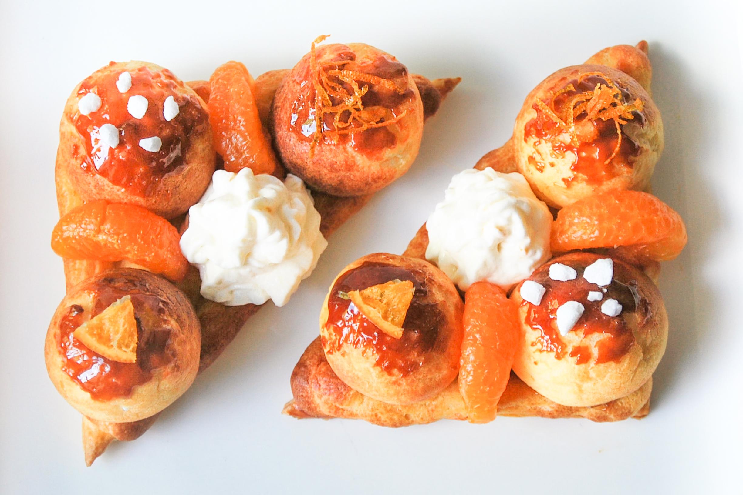 Saint Honoré de crema de mandarinas