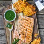 Salmon con pesto de cilantro