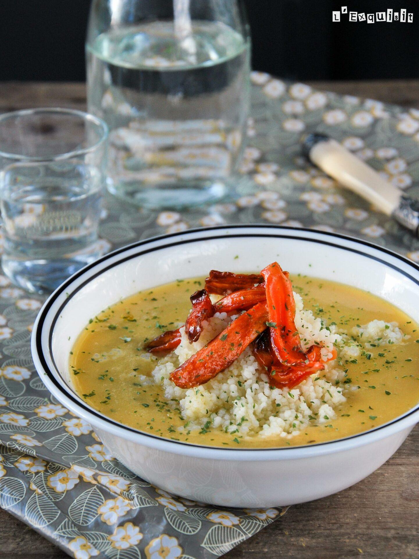Sopa de lentejas y zanahoria con couscous
