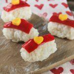 Sushi dulce con gelatina de frambuesas y mango {idea para San Valentín}