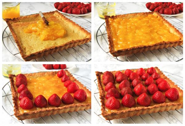 Tarta con crema de limón y fresas preparación - L´Exquisit