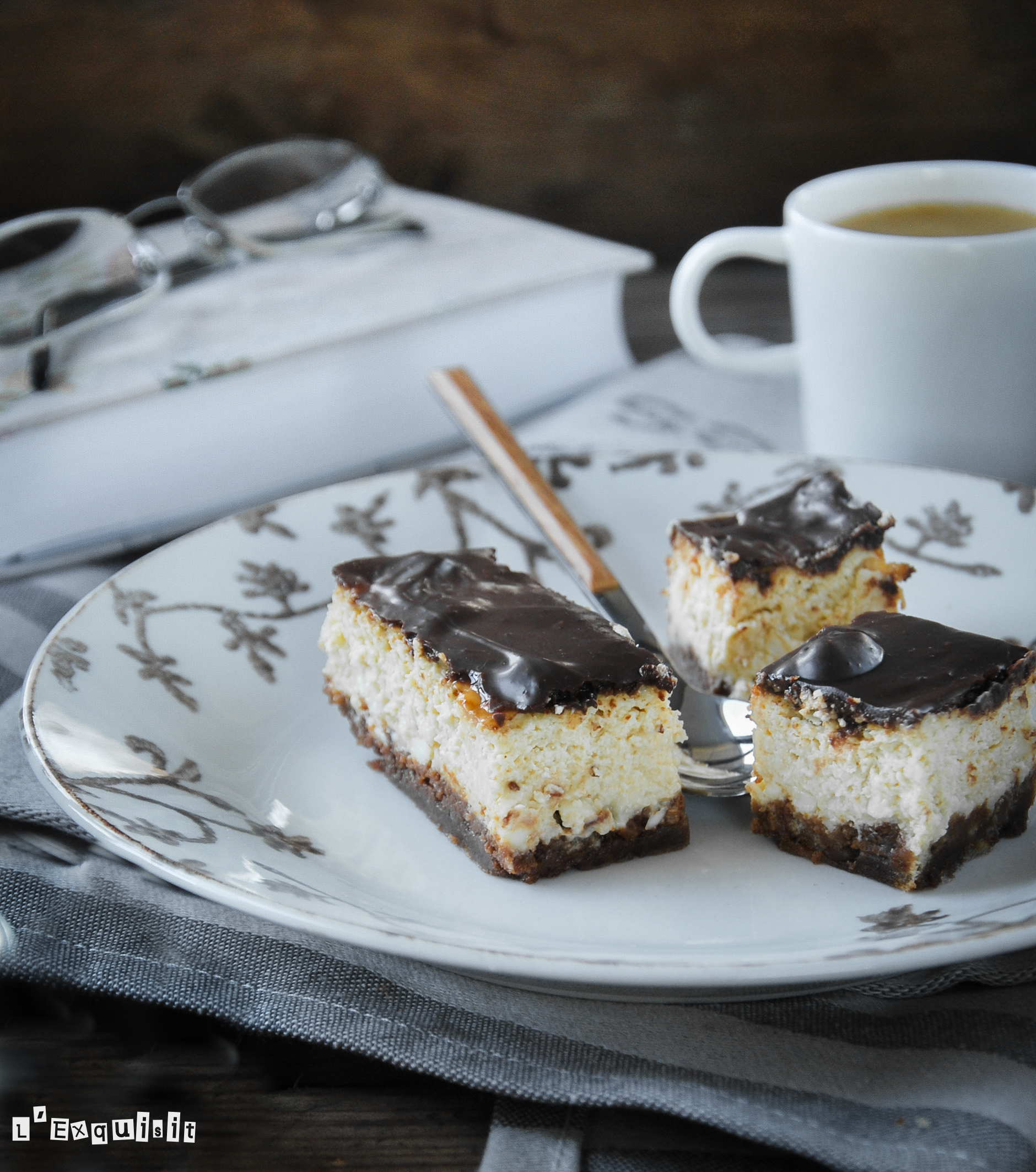 Tarta de queso al café con chocolate