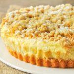 Tarta de queso, manzana y crumble