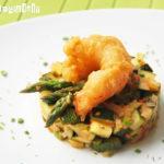 Tartar de verduras con langostino en tempura