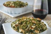 Gratin de verduras con roquefort y crumble de hierbas