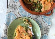 Salmón con verduras y pure de patata y boniato