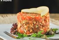 Tartar de salmón y manzana