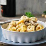 Tortellini con champiñones, mascarpone y nueces